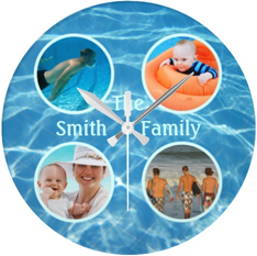 Customizable Family Photo Blue Pool Water Swim Wall Clock