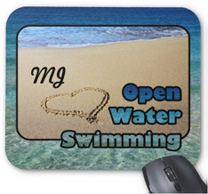Love Open Water Swimming Sand Beach Heart Sea Mouse Pads