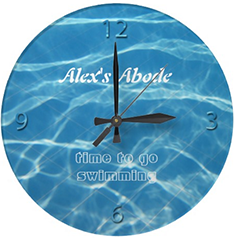 Blue Pool Water Numbers Clear Aquatic Cool Swimmer Clock