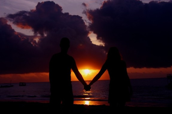 Couple watching a sunset