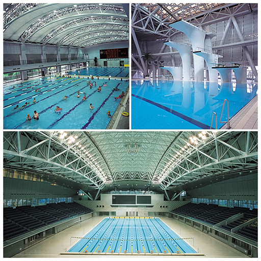 Views of the pool facilities. Photos courtesy of Yokohama International Swimming Pool.